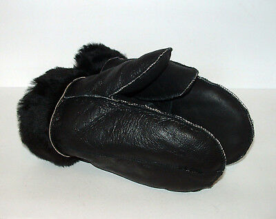 NEW HANDMADE MENS Black REAL SHEARLING SHEEPSKIN MITTENS MITTS GLOVES SIZE S-M