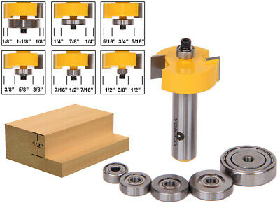 """Rabbet Router Bit with 6 Bearings Set - 1/2"""" Shank - Yonico 14705"""