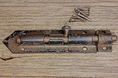 "6"" security lock door Slide Latch barrel bolt vintage screws old cast iron V end"