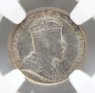 1903 H Canada 5 Cents Silver KM13 Edward VII Small H - NGC AU58 90178h