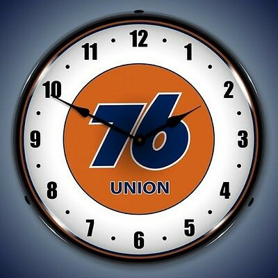 "Retro Union 76 14"" Lighted Vintage Wall Clock NEW Free Shipping"