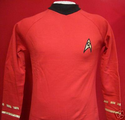 STAR TREK Uniform - original - rot top Replica  NEU - M - Baumwolle Filmwelt
