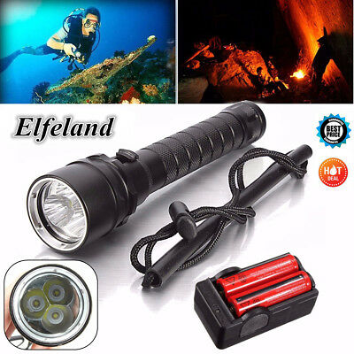 15000Lm Elfeland  3x T6 LED Diving Flashlight Underwater 100M + 18650 + Charger