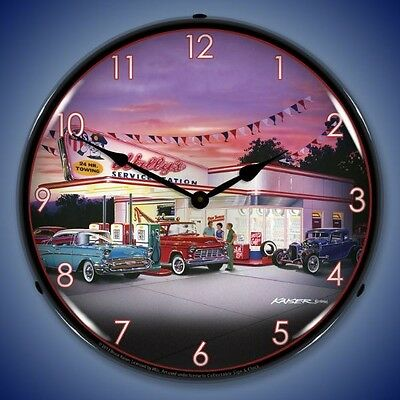 "Retro Wally's Service Station Bruce Kaiser Art 14"" Lighted Vintage Wall Clock"