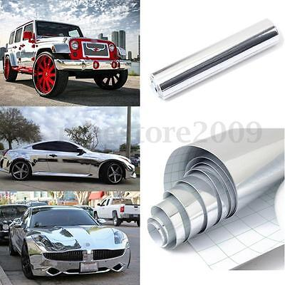 Silver Chrome Mirror Vinyl Wrap Film Car Sticker Decal Sheet Bubble Free 8x60''
