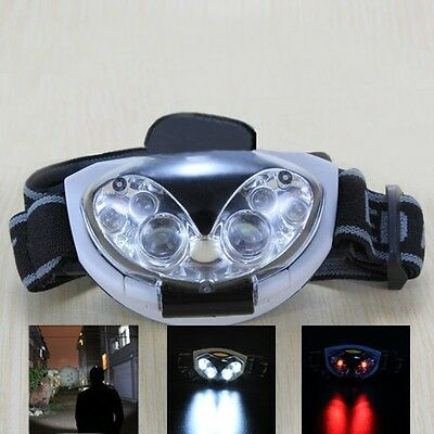 3W White + Red Flash Light 6 LED Headlamp 3-Mode Headlight Fishing Head Torch
