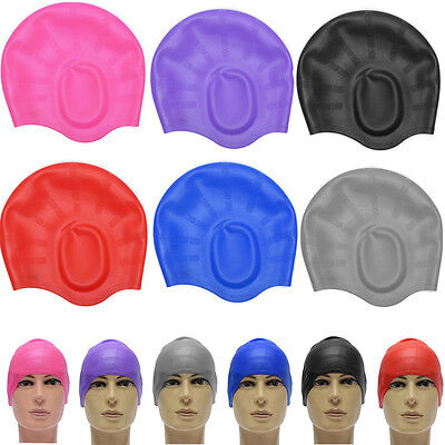 Unisex Adult Silicone Stretch Swimming Long Hair Cap Hat With Ear Cup Protection