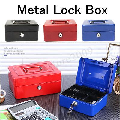 Stainless Steel Tiered Cash Money Box Lock Locking Bank Safe Key Security Tray