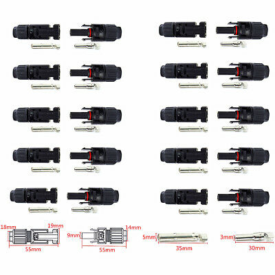 10 Pairs MC4 Male Female M/F Wire Cable Connector Set Solar Panel 30A IP67