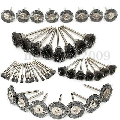 45Pc Steel Wire Wheel Pen Cup Brushes Set Kit Accessories for Dremel Rotary Tool