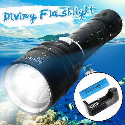50000LM Underwater 100M T6 LED Diving Flashlight Scuba Torch Lamp+18650+Charger
