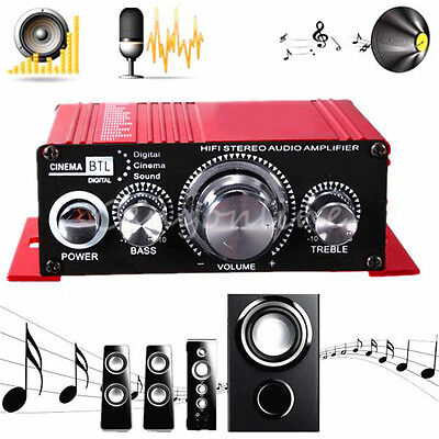 12V Mini Hi-Fi Audio Amplifier Booster MP3 Stereo for Car Motorcycle Boat Home