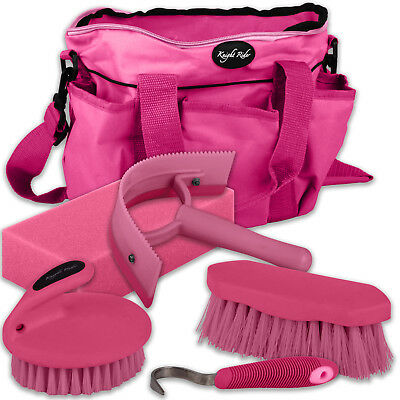 5 Pc Horse Pony Cob Grooming Kit Tack Bag Gift Set Stable Travel - All Colours
