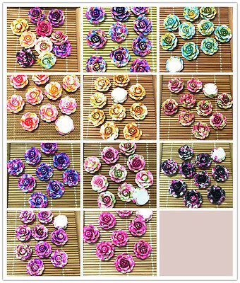 20/50pcs Resin Rose Flower flatback Appliques For phone/wedding/crafts MIX