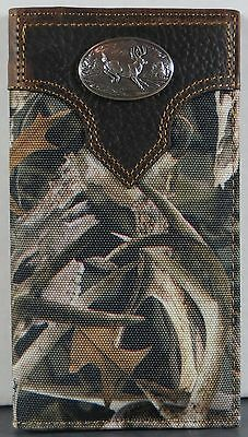 Jumping Buck Bonz Camo Ariat Bones Horns Western Wallet Billfold Checkbook