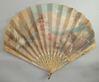 Eventail Publicitaire Ancien The French Line Maquet Paris Advertising Fan Old