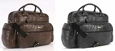 Large Mens Gym Bag Lorenz Real Patch Leather Travel Sports Luggage Holdall Case
