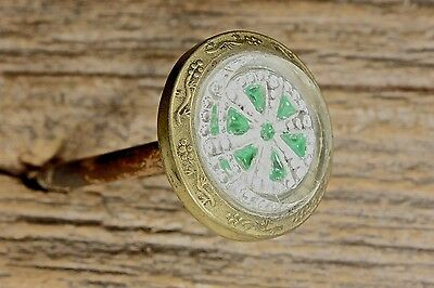large Picture Nail artwork hanger old green wheel wreath 1800's vintage 1 1/4""