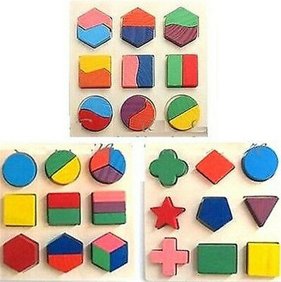 FD1768 Kids Baby Wooden Geometry Block Puzzle Montessori Early Learning Toy x1✿