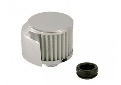 """Push In Chrome Breather 42869 For Valve Covers With 1-1/4"""" filler Hole W/Shield"""