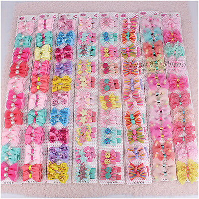 10/20pcs Mixed Colour Flower Baby Kid Girls Ribbon Bow Hair Clips Aligator Clips