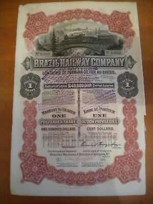 Scripophily Vintage Brazil Railway company Bond share certificate 1910 40 Mill