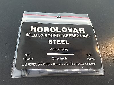 Horolovar 400 Day Anniversary Clock Steel Pin Tapered.065 to.030 Black Set of 40