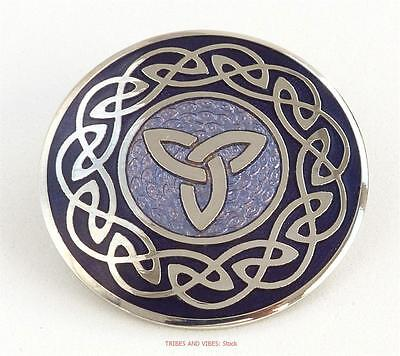 Celtic Knot Brooch Triquetra purple lilac Sea Gems Jewellery Silver Plate BNIB