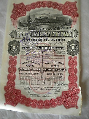 Scripophily Vintage Brazil Railway company Bond share certificate 1912 50 Mill