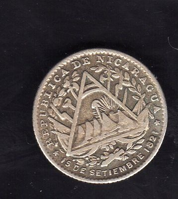Nicaragua  5 Cents. 1887, Silver Very Nice Condition