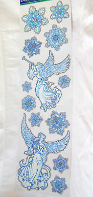 New Christmas Window Stickers Clings Blue White Silver Glitter Angels