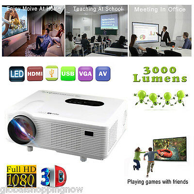 3000 lumen HD Multimedia LCD Projector Home Cinema Theater HDMI USB AV 1080p