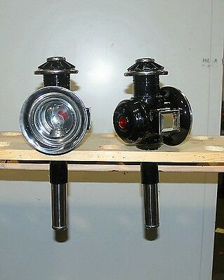 Pair of new horse drawn 12 volt carriage lamps stainless  & black PONY SIZE