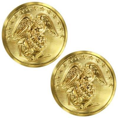 USMC Marine Corps Buttons 40 Ligne Anodized  Card of 2   (Made in USA)