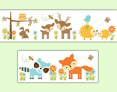 Woodland Nursery Decal Wallpaper Border Forest Friends Animals Wall Art Stickers