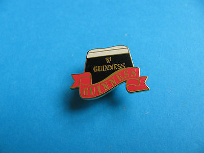 Guinness Pint Pin Badge With red Banner. VGC. Unused. Enamel.