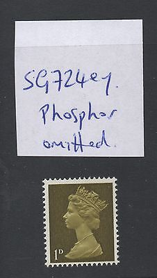 1967. SG724ey. 1d olive pre-decimal machin. Phosphor omitted vartiety. MNH.