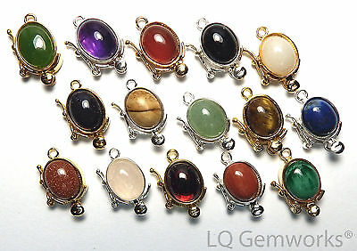 925 Sterling Silver Stone 18mm Box Clasp CHOOSE STONE