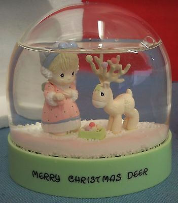 Precious Moments Merry Christmas Deer Snowglobe In Original Box Waterball 1995