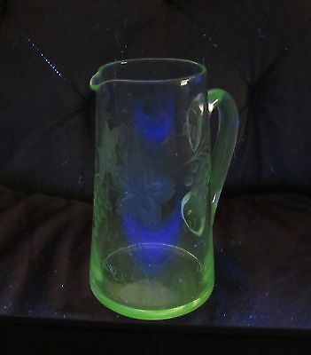 Antique Uranium Glass Wheel Cut Glass Pitcher With Grapes & Leaves Design