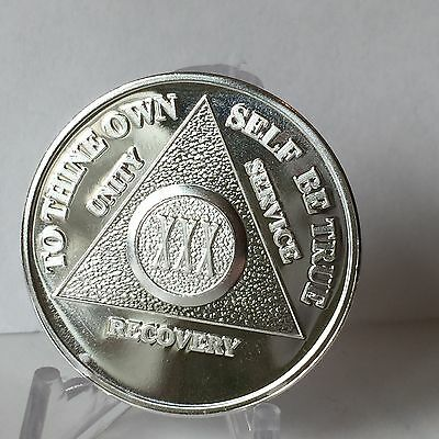 Silver Plated 30 Year AA Chip Alcoholics Anonymous Medallion Coin Thirty XXX