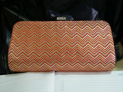 Japanese Traditional Hand Carry Case Handmade Zigzag Metalic Pattern