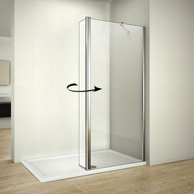1950mm Walk In Wet Room Shower Enclosure Screen Tray+Waste Flipper Glass Panel