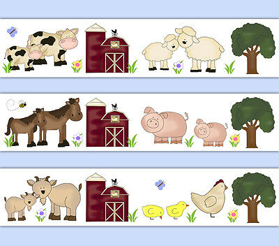 Barnyard Farm Animal Wallpaper Border Wall Decals Baby Boy Girl Nursery Stickers