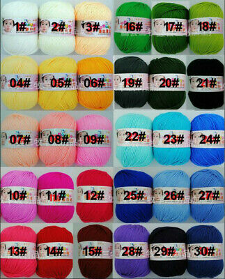 30colors Soft Bamboo Crochet Cotton 50g Fingering Knitting Wool Yarn For Baby