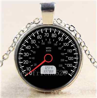 CAR SPEEDOMETER Photo Cabochon Glass Tibet Silver Chain Pendant Necklace