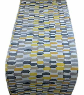 1 TABLE RUNNERS -in BATIK col SAFFRON yellow grey-fully lined wedding EXTRA LONG