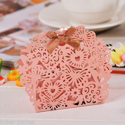 60PCs New Foldable Paper Hollow Cake Package Boxes Pink Heart Butterfly 8x7cm
