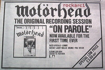 MOTORHEAD On Parole 1979  UK Press ADVERT 12x8""