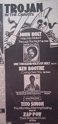 Reggae- Trojan In The Charts 1975  UK Press ADVERT 16x6  inches - Ken Boothe